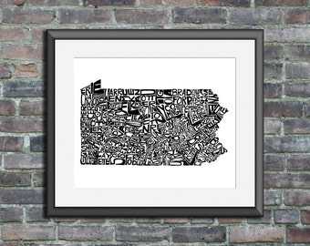 Pennsylvania typography map art print 5x7 customizable personalized state poster custom wall decor wedding housewarming gift