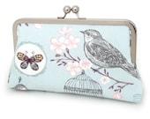 SALE: Clutch bag, blue bird purse, woodland wedding, bridal accessory, bridesmaid gift, BIRD + BUTTERFLY