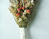 Fall Wedding  Brides Bouquet of Lavender Roses Larkspur Wheat and other dried flowers