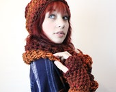 FIRE Grunge slouch hat fingerless gloves chunky vegan cowl hood scarf red cranberry brown set