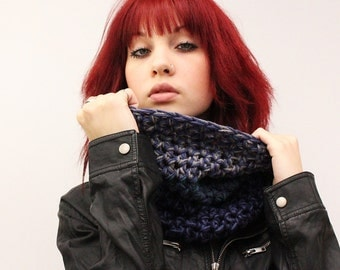The Light House Keeper cowl Mens Womens nautical winter scarf sailors storm navy midnight teal