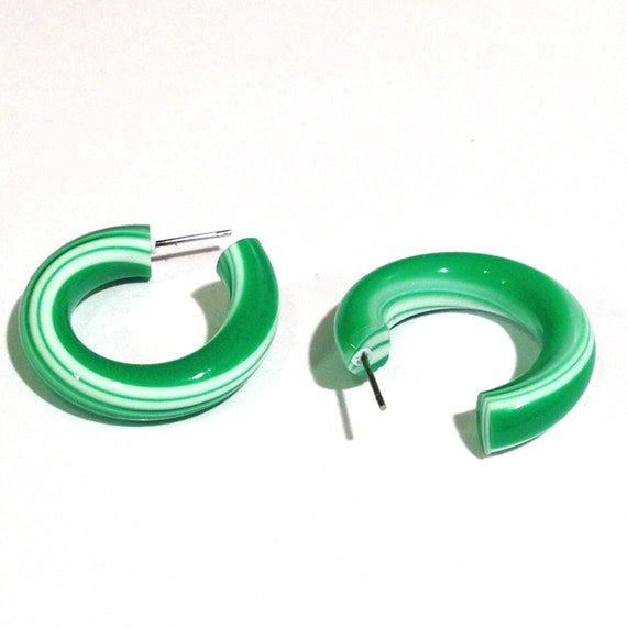Green Candy Cane Twist Hoops - lucite hoop earrings