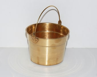 Vintage Solid Brass Pail Bucket Small Waste Basket Trash Can