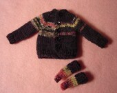 Blythe Black Fair Isle Sweater and Socks for Pullip and Vintage Skipper Too