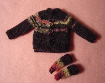 Black Fair Isle Sweater and Socks for Blythe and Pullip