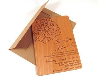 Peony Flower Wooden Wedding Invitation - Floral Wedding Invitation - Real Wood Invite