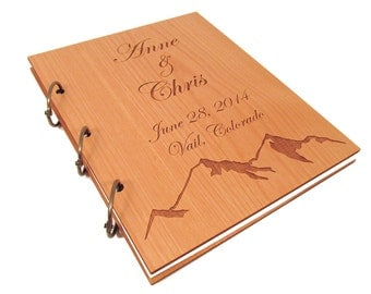 Mountain Wedding Guest Book - Real Wooden Covers
