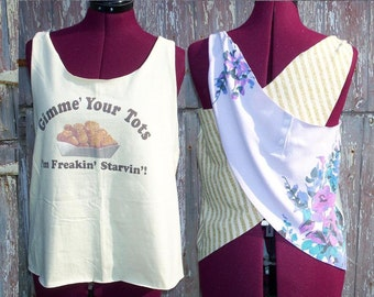 Size XS Gimme Your Tots Upcycled Tank Top DIY