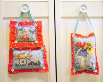Trio of Hanging Doorknob Pillows Scottie Dog, Blue Birds, Country Girl