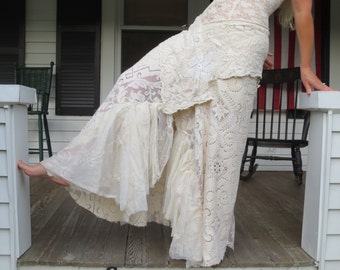 Vintage Lace Bohemian Skirt Made in the USA
