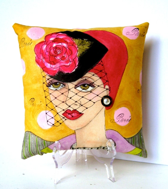 new..MANON PARIS PILLOW, hand painted pillow, Paris, Paris girl, veiled hat,  mustard yellow, polka dots, fun quote, woman gift, earring,