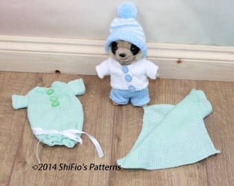KNITTING PATTERN For  Toy Meerkat Clothes,Trousers, Hat, Sleeping bag & Blanket PDF 285 Digital Download