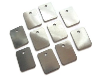 """NEW SHAPE  -aluminum rectangle 3/4"""" x 1""""  - thick with one  hole QTY 10 -tumbled"""