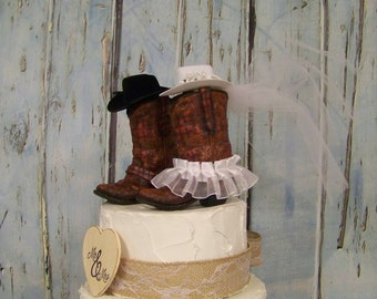 Rustic Cake Topper-LARGER Boots,His and Her Western Cowboy Boots-Wedding Cake Topper-Barn Wedding, NEW Larger Boots