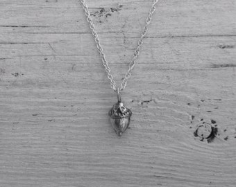 Tiny sterling silver acorn necklace