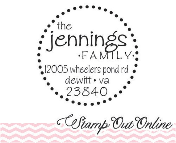 return address stamps with whimsical font --2279