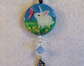 White bunny round disk pendant