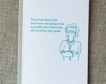 Disappointed Mom Letterpress Card. Pregnancy Congratulations.