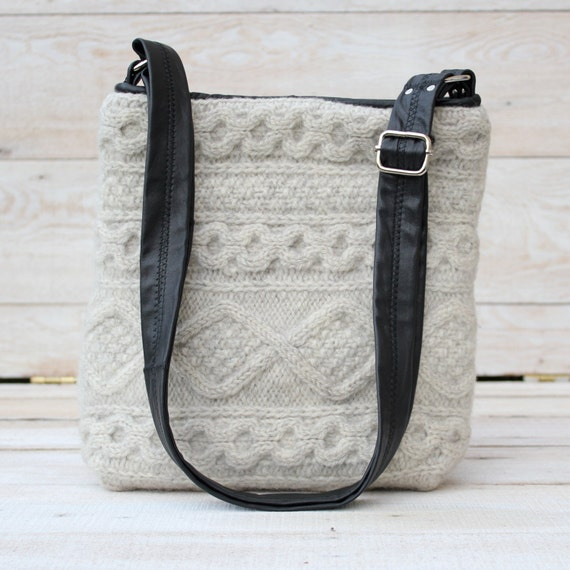 Recycled Wool Messenger Bag in Oatmeal With A Black Leather Strap
