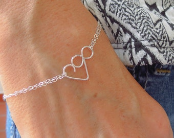Infinity Love Bracelet, Mother Daughter Bracelet, Love for Infinity, Sterling Silver Jewelry Gift for Her Heart Bracelet Friendship Bracelet