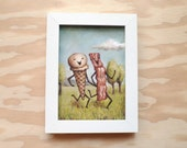 Bacon Frolics with Ice Cream - 5x7 Print - Bacon Painting