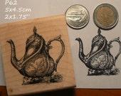 Elegant teapot rubber stamp P60