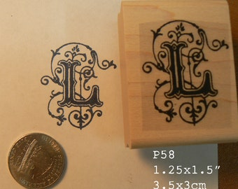 P58 Monogram letter L rubber stamp
