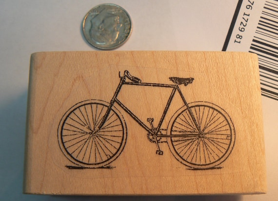 P25  Men's Bicycle rubber stamp 2x1.2 inches WM