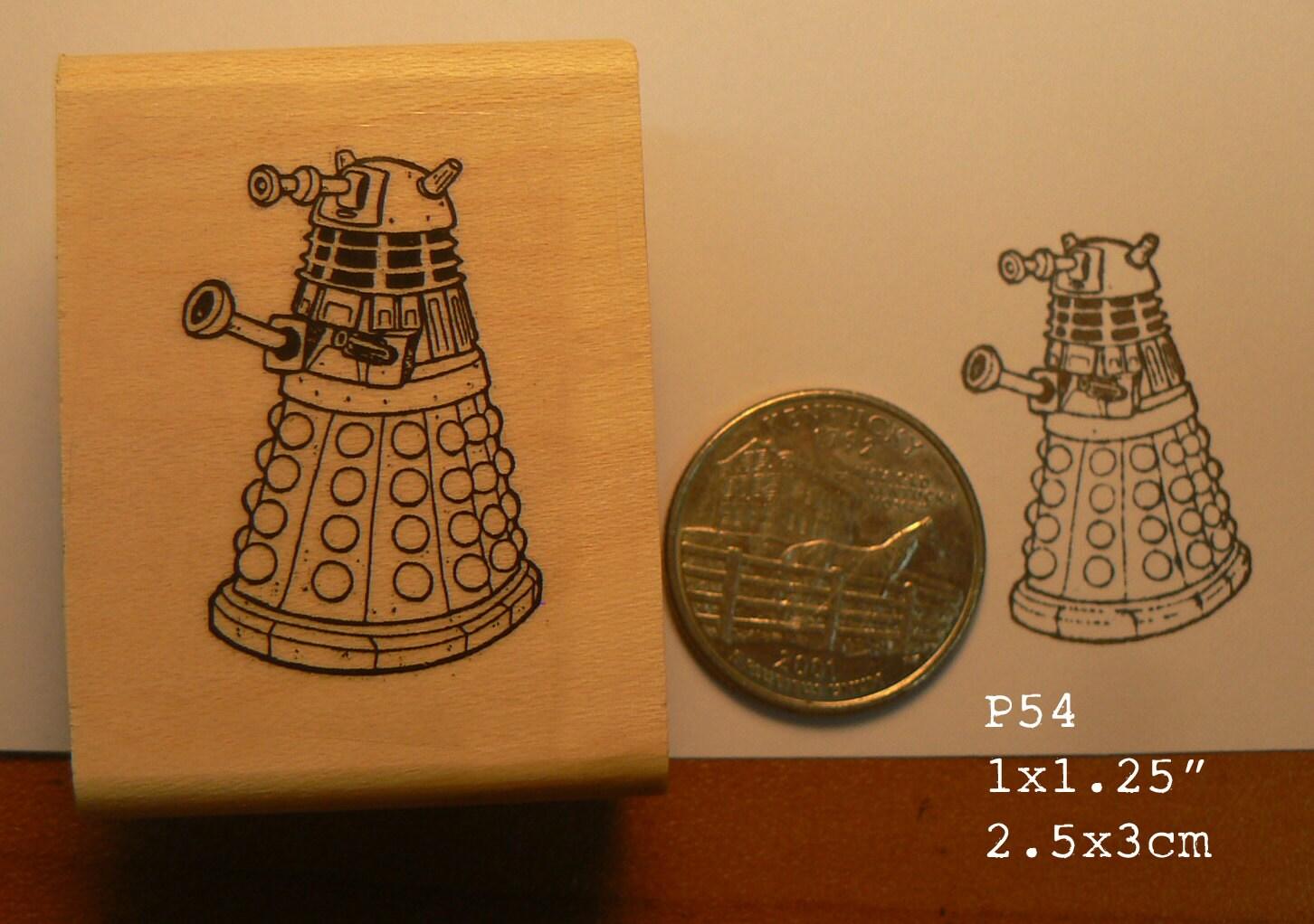 P54 Dalek Line Art Rubber Stamp