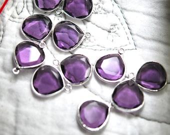 purple quartz flat heart pendant in sterling silver 2 pieces 16.00