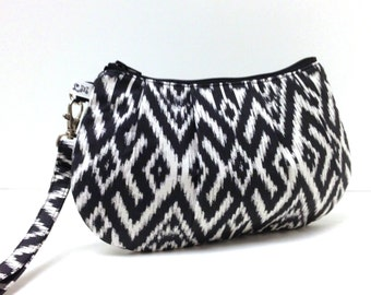 Clutch Purse Wristlet - Ikat in Charcoal Gray Black and White
