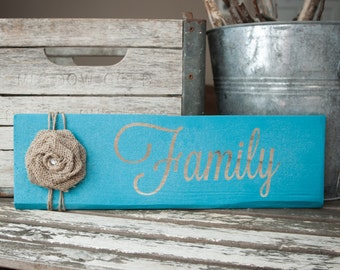 Wooden Family Sign (Cursive Font)