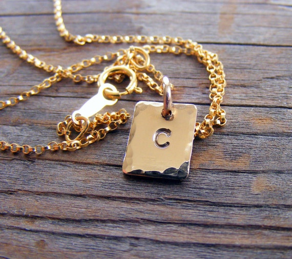 Gold Filled Initial Square Tag Necklace, Personalized Engraved Charm Pendant, Monogram Letter Alphabet Necklace