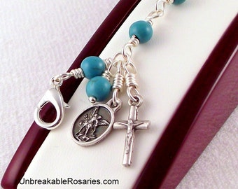 St Michael The Archangel Rosary Bracelet In Turquoise Magnesite by Unbreakable Rosaries