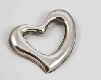 VIntage  Seventies Sterling Silver Floating Heart Pin or Brooch / Made in Mexico