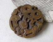 Jade Pendant Vintage Ethnic Bat Coins Carved Brown Jade Gemstone Feng Shui Amulet