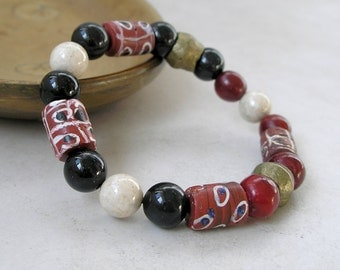 Boho Ethnic Stretch Bracelet African Trade Bead Gemstones Tribal Antique Brass
