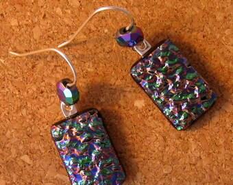 Dichroic Dangle Earrings Fused Glass Earrings Glass Earrings Glass Jewelry Dichroic Jewelry