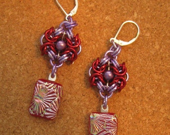 Dichroic Earrings Chain Maille Earrings Fused Glass Earrings Dichroic Jewelry Fused Glass Jewelry