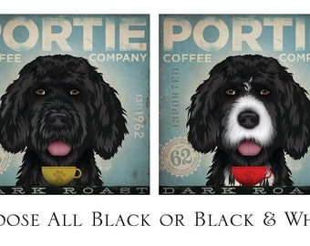 Portuguese Water Dog Coffee Portie Company graphic art on gallery wrapped canvas two colors by Stephen Fowler