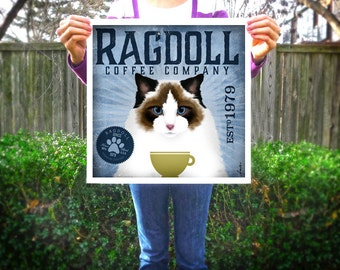 Ragdoll Cat coffee company artwork original graphic illustration signed archival artists print giclee By Stephen Fowler PIck A Size