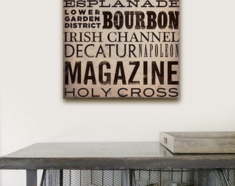 New Orleans Streets Typography graphic art on gallery wrapped canvas