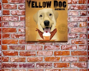 Yellow Dog Cupcake Company original illustration on gallery wrapped canvas by Stephen Fowler geministudio