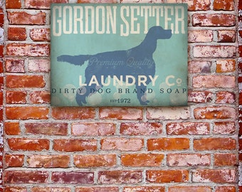 Gordon Setter dog Laundry Company illustration graphic art on gallery wrapped canvas by stephen fowler