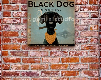 BLACK DOG CIGAR company advertising style artwork on gallery wrapped canvas by Stephen Fowler
