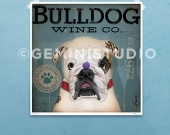 English Bulldog dog wine Company graphic illustration giclee archival signed artist's print by Stephen Fowler Pick A Size