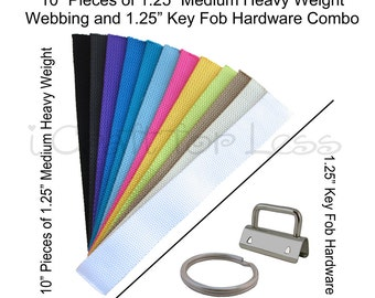 25 Key Fob Hardware and 25 - 10 Inch Pieces of Medium Heavy Weight Cotton Webbing Combo - 1.25 Inch - Plus Instructions - SEE COUPON