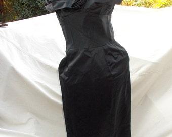 Lorrie Deb San Francisco Black Satin Wiggle Dress late 50s early 60s Cutie Va Va Va Voom sz 34 36 bust 28 waist 38 40 hip offered As IS