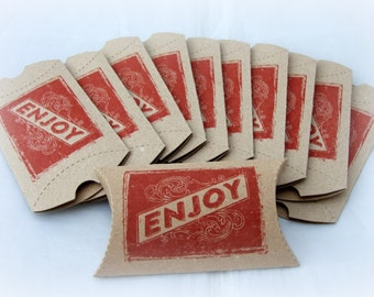 10 Kraft Pillow Boxes - Christmas favor boxes - Small favor box - Gift Box - Hand stamped