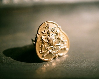 Lions and Knights - Adjustable vintage brass crest ring in aged brass